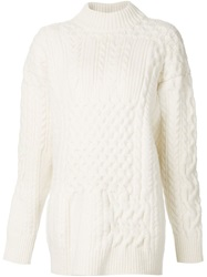 Nina Ricci Aran Knit Sweater White