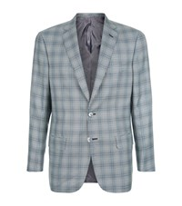 Brioni Silk Wool Check Jacket Male Blue