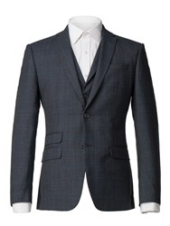 Racing Green Men's Navy Heritage Check Tailored Jacket Blue