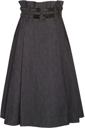 Bottega Veneta Leather Trimmed Pleated Denim Midi Skirt Dark Denim
