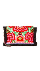 Jadetribe Eliz Fringe Clutch Black