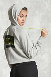 Forever 21 Active Real Graphic Hoodie Heather Grey Lime