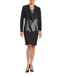 Michael Michael Kors Faux Leather Trimmed Cardigan Black