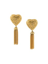 Yves Saint Laurent Vintage Draped Chain Heart Earrings Metallic