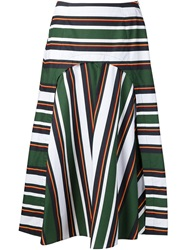 Suno A Line Striped Midi Skirt Green