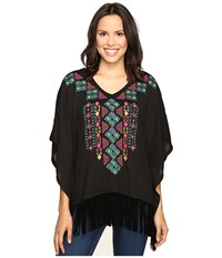 Roper 0612 Solid Sweater Jersey Poncho Black Women's Sweater