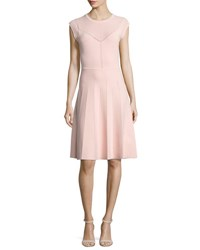 Lela Rose Pointelle Knit Cap Sleeve Dress Light Pink