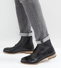 Asos Lace Up Brogue Boots In Black Leather