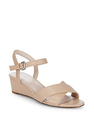 Nine West Lucy Leather Wedge Sandals Barely Nude