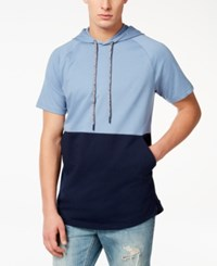 American Rag Men's Colorblocked Short Sleeve Hoodie Created For Macy's Blue