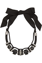 Lanvin Gunmetal Tone Bead And Crystal Necklace