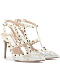 Valentino Garavani Rockstud Camustars Crystal Embellished Leather Pumps Silver