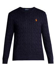 Polo Ralph Lauren Crew Neck Cable Knit Cotton Sweater Navy