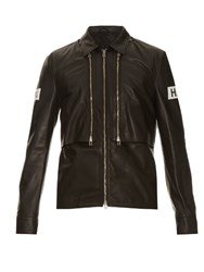 Hood By Air Point Collar Leather Jacket Black