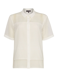 Pied A Terre Woven Stripe Sheer Shirt White