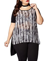 Mblm By Tess Holliday Short Sleeve Tie Dye Print High Low Tee