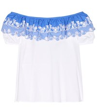 Peter Pilotto Embroidered Off The Shoulder Top White