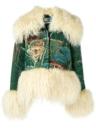 Kenzo Fur Trim Embroidered Jacket Green