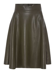 Biba Faux Leather Pocket Detail Full Skirt Khaki