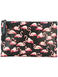 Red Valentino Flamingo Print Clutch Black