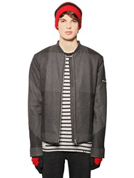 Cheap Monday Check Wool Blend Bomber Jacket Charcoal