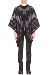 Marcelo Burlon Valle Enc Poncho In Black Gray Checkered And Plaid