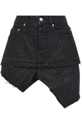 Rick Owens Woman Asymmetric Distressed Coated Denim Mini Skirt Dark Denim
