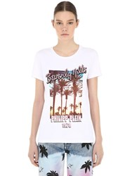 Philipp Plein Printed Cotton Jersey T Shirt White
