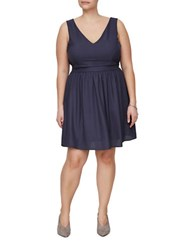 Junarose Cecilia Solid Sleeveless Dress Blue