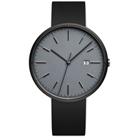 Uniform Wares M40 Calendar Wristwatch Pvd Grey And Black Rubber