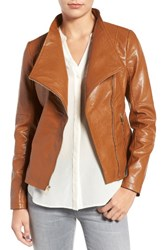 Guess Women's Asymmetrical Faux Leather Jacket Cognac