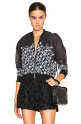 3.1 Phillip Lim Patchwork Lace Bomber In Gray Floral