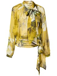 Michelle Mason Gathered Chiffon Blouse Yellow