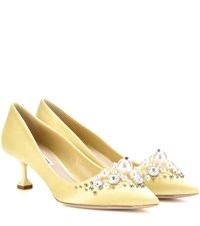Miu Miu Embellished Satin Pumps Yellow