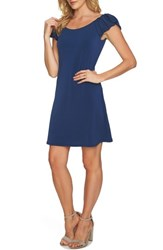 Cece Puffed Sleeve Crepe Knit Dress Naval Navy