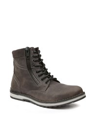 Gbx Dern Leather Lace Up And Zip Boots Grey
