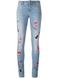 Philipp Plein Embroidered Skinny Jeans Blue