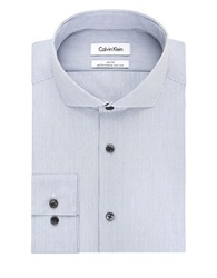 Calvin Klein Slim Fit Striped Dress Shirt Empire Blue