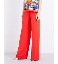 Emilio Pucci Wide Leg Crepe Trousers Red