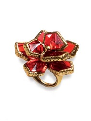 Oscar De La Renta Wildflower Cocktail Ring Gold Red