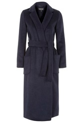 Topshop Belted Wool Blend Coat Navy Blue