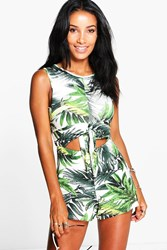 Boohoo Palm Print Tie Front Playsuit Green