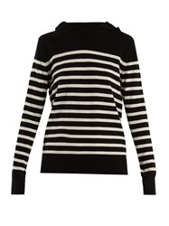 Saint Laurent Hooded Striped Cashmere Sweater Black White