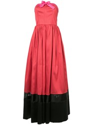 Alexis Mabille Colour Block Strapless Gown Polyester Red