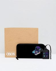 Asos Leather Gift Set With Embroidered Travel Wallet And Tag Black