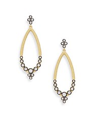 Freida Rothman Open Teardrop Crystal Bezel Earrings Gold