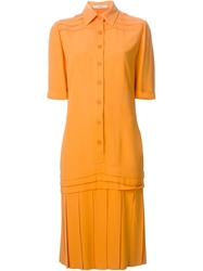 Jean Louis Scherrer Vintage Pleated Blouse Dress Yellow And Orange