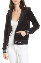 Juicy Couture Robertson Jacquard Velour Hoodie Pitch Black