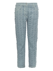 Etro Chevron Frayed Straight Leg Jeans
