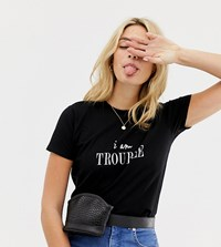 Asos Design Tall T Shirt With Trouble Print White